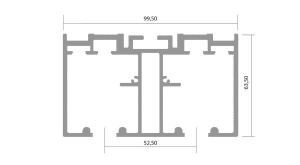 Kit Binari Ante Scorrevoli.Binario Plana 2 Vie Per Ante Sp 44mm Pl005